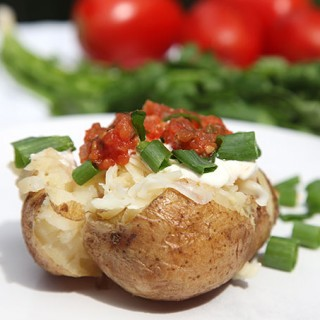 Baked potato with fresh salsa