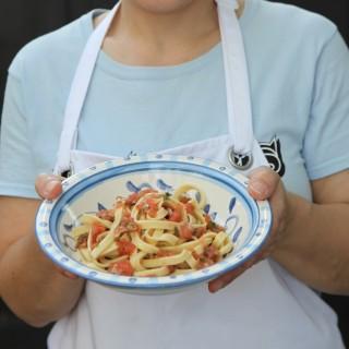 Fresh pasta with fresh salsa